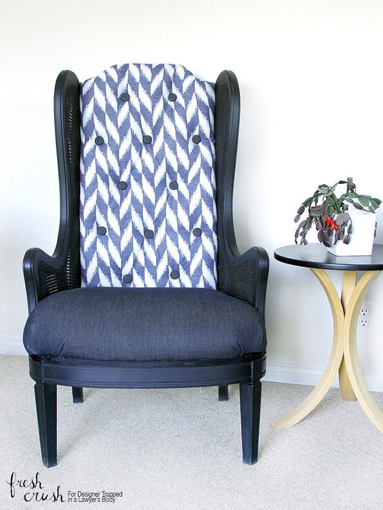 This caned wingback chair makeover is AMAZING! Come learn how to upholster a chair with the detailed tutorial from Fresh Crush for Designer Trapped in a Lawyer's Body!