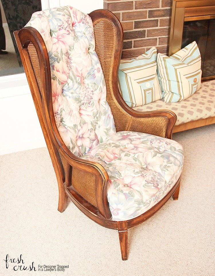 This caned wingback chair makeover is AMAZING! Come learn how to upholster a chair with & Learn How to Upholster a Chair | Wingback Chair Makeover