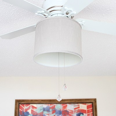 Update your ceiling fan to something beautiful with a drum shade, and this easy tutorial by Fresh Crush.