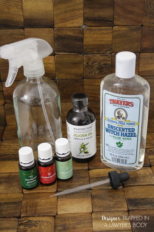 STOP USING DEET! This easy, DIY bug spray is all natural and can easily be made at home. Come check out the full tutorial by Designer Trapped in a Lawyer's Body.