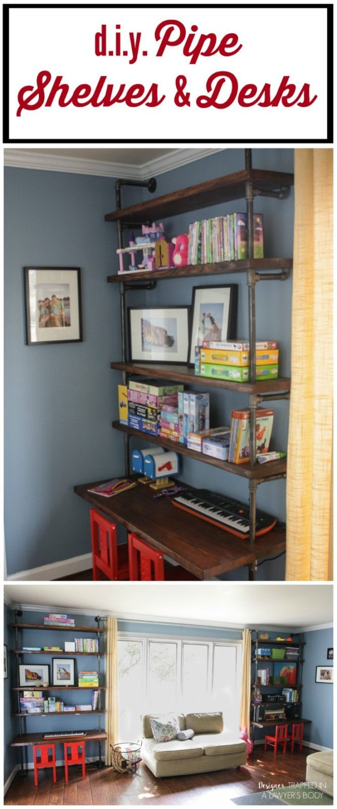 Make Your Own Diy Pipe Shelves And Built In Desks Using This Detailed Tutorial Complete With Exactly What Ings You Need