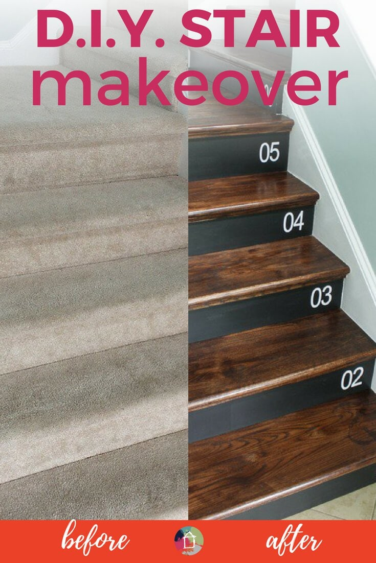 Removing Carpet From Stairs And Replacing It With Wood Stair Treads Is  Totally Doable. This DIY Staircase Makeover Was Accomplished In A Weekend  And Looks ...