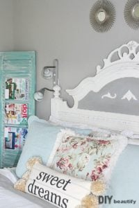 I completely redecorated a bedroom in only 6 weeks and created this gorgeous, relaxing Guest Room! Get all the details and projects at DIY beautify