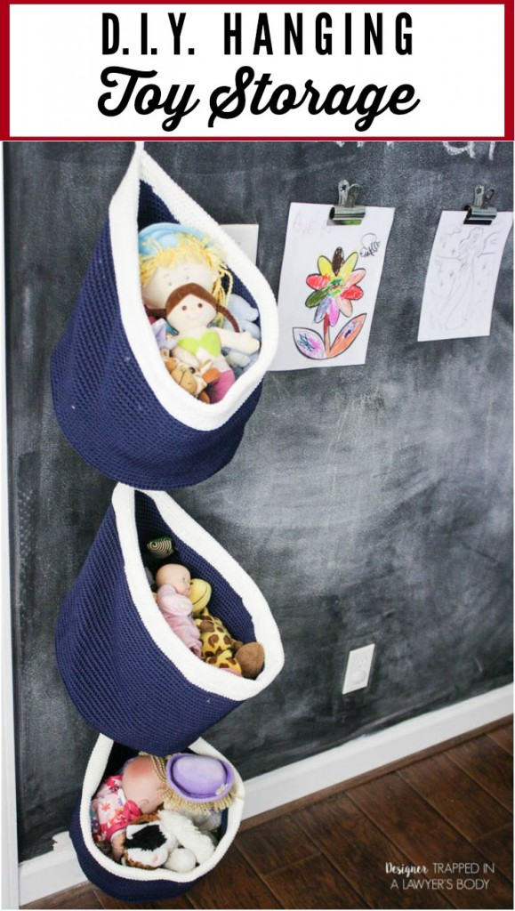 This is BRILLIANT and so easy! Use baskets for easy, DIY hanging toy storage in any kid's space! Full tutorial by Designer Trapped in a Lawyer's Body.