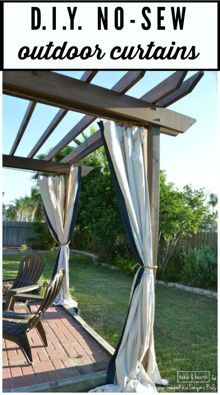 Diy outdoor curtains - Make These Gorgeous Diy No Sew Outdoor Curtains Without Spending A Ton