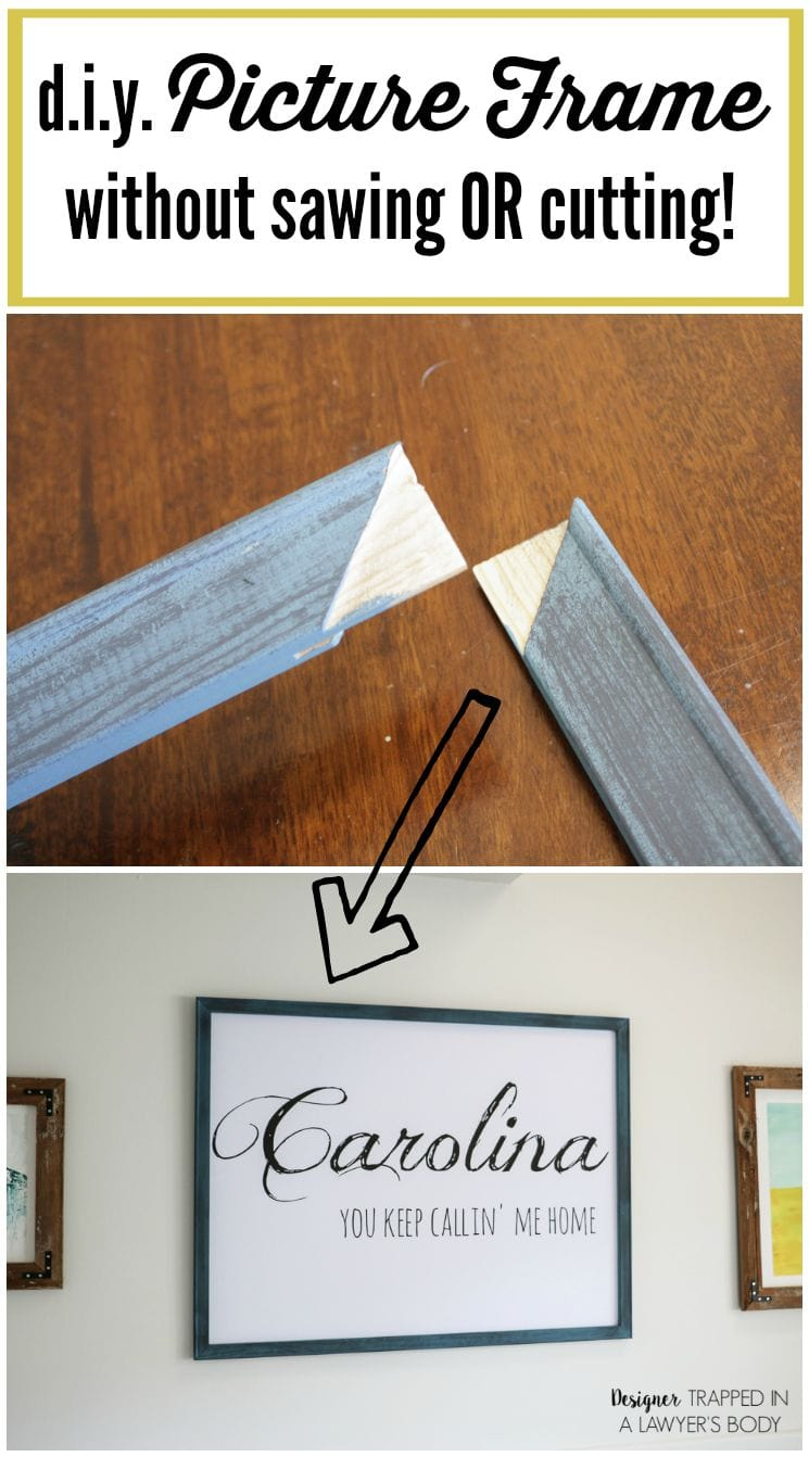 DIY Picture Frame--NO SAWING OR CUTTING REQUIRED! | Designertrapped.com