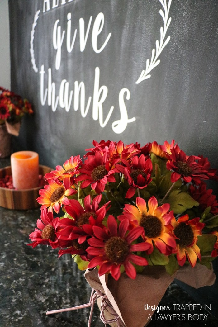 LOVE THIS fall chalkboard art and fall decor from Designer Trapped in a Lawyer's Body! Learn the easiest way to create a chalkboard wall with this tutorial.
