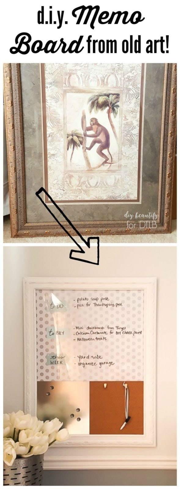 How to make a memo board from an old picture designertrapped a discarded picture is transformed into a functional and cute office memo board by jeuxipadfo Choice Image