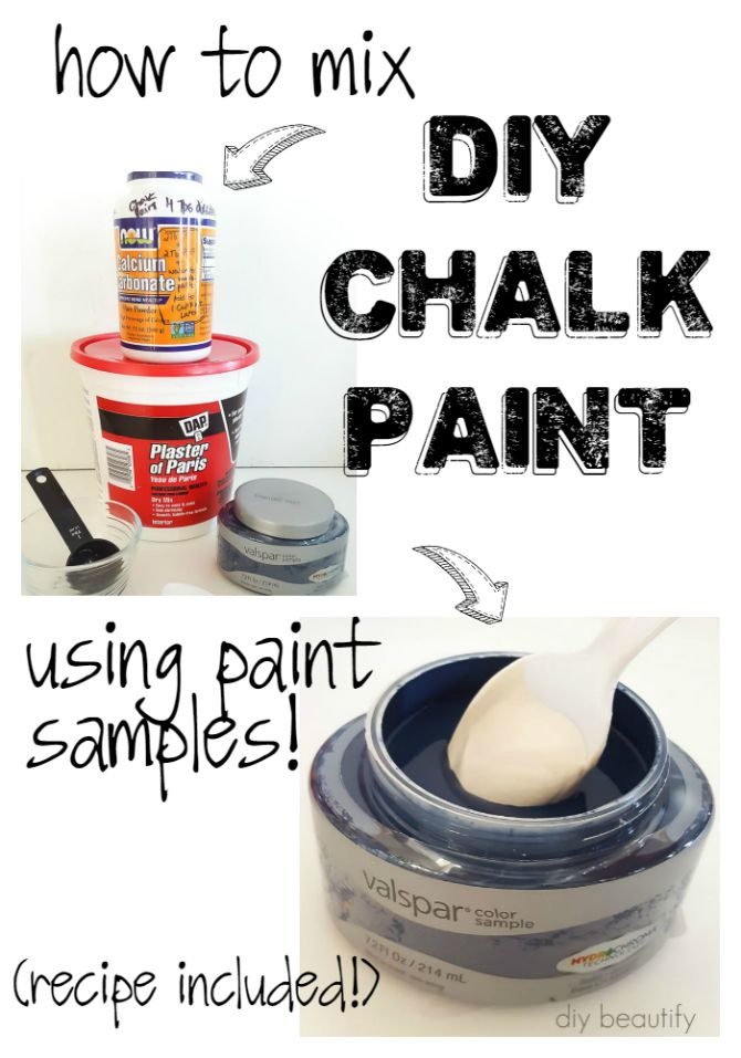 Learn how to easily make DIY chalk paint using store samples! Full tutorial at diy beautify!