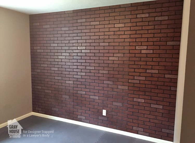 How to paint a faux brick wall easy diy project designer trapped for Interior faux brick wall tiles