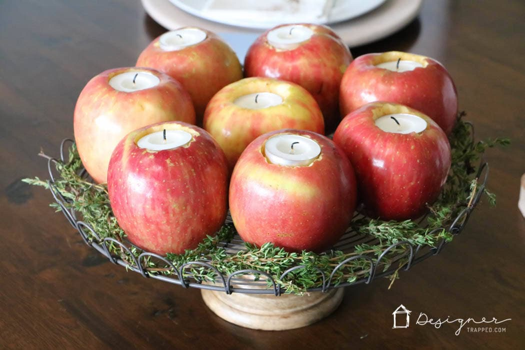 OMG--love this! Come learn how to make this centerpiece out of DIY apple candles. So pretty!