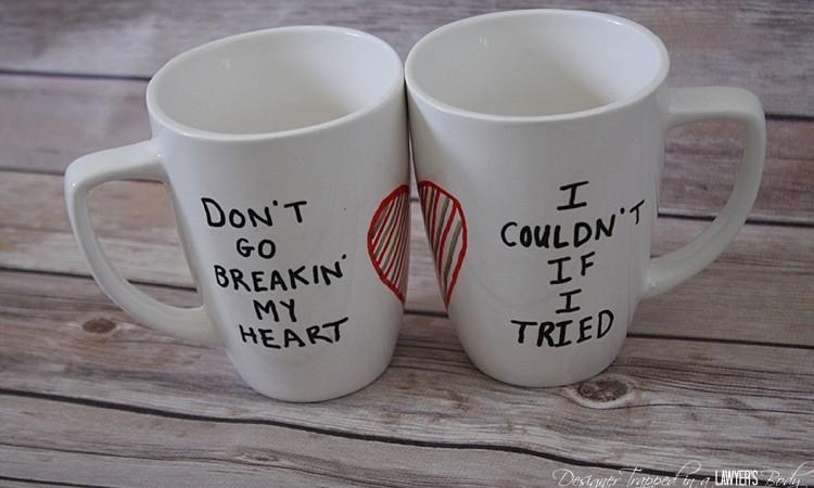 DIY His and Hers Sharpie Mugs