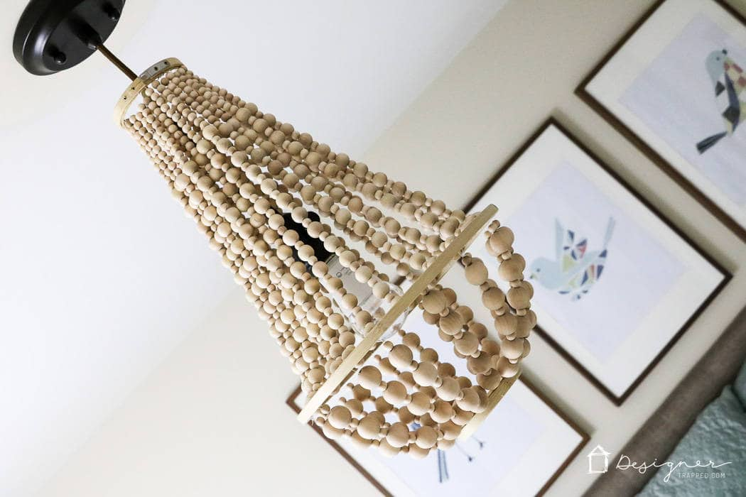GORGEOUS wood bead chandelier by Designer Trapped in a Lawyer's body for Remodelaholic.com!