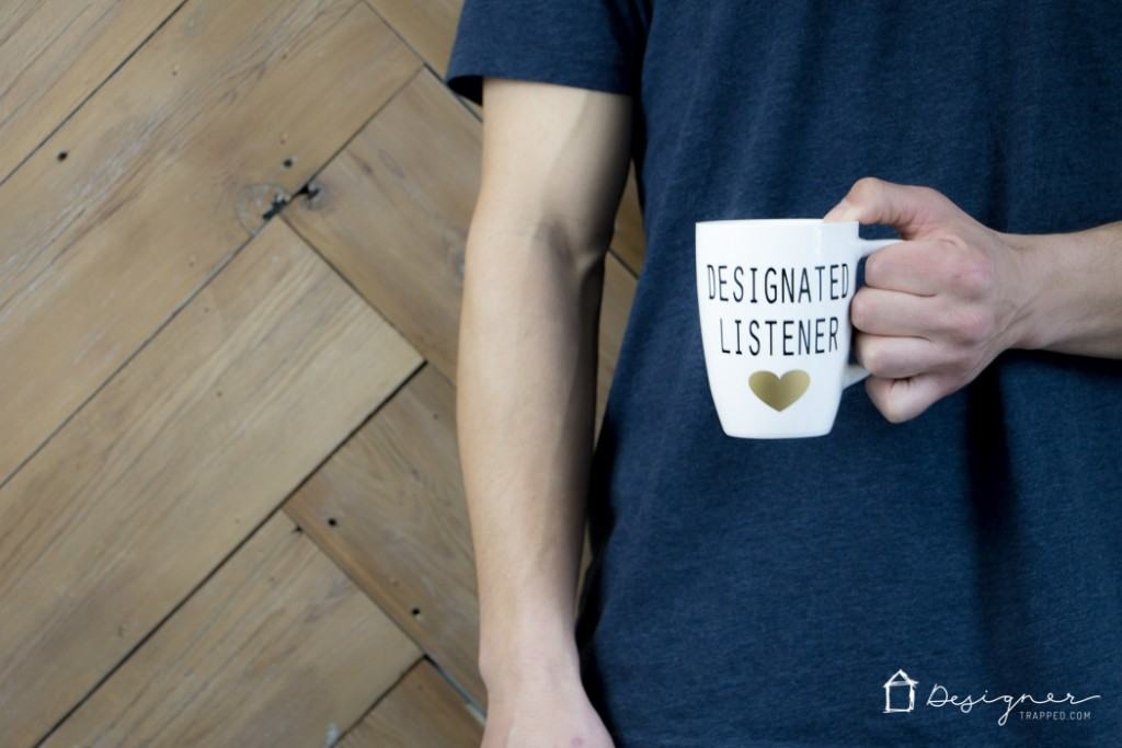 OMG, LOVE THESE DIY his and hers mugs! Designated talker and designated listener--so funny. / www.designertrapped.com