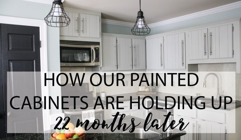 DIY Painted Kitchen Cabinets Update | Designertrapped.com on repaint home, repaint fireplace, repainted cabinets,