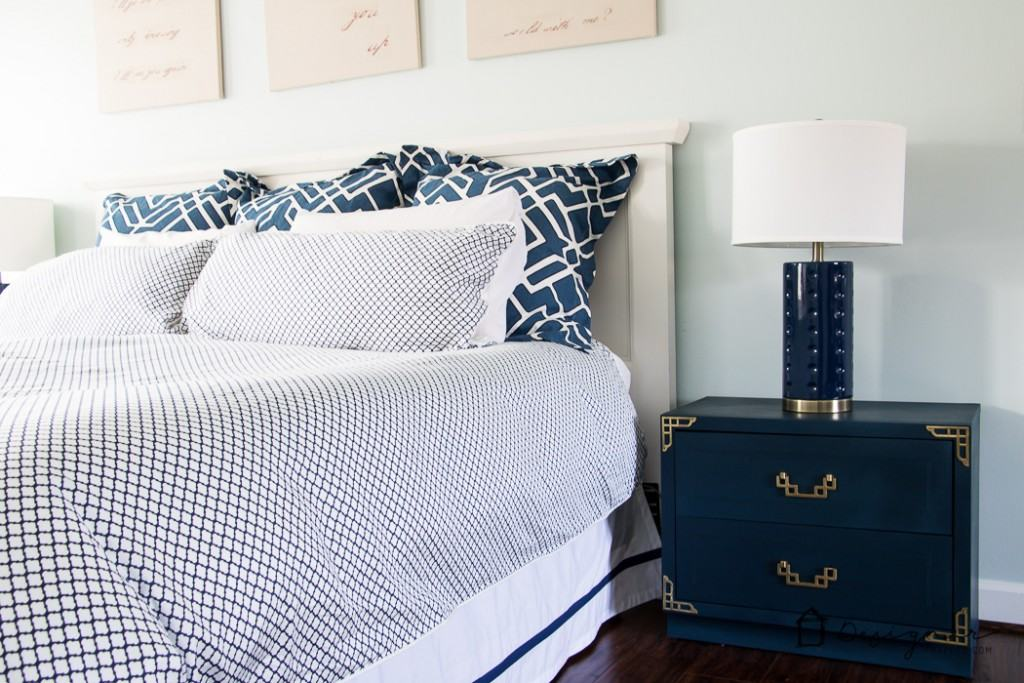 Bedroom Blog Part - 40: Love This Navy And White Master Bedroom! The Mixture Of Patterns Is  Gorgeous!