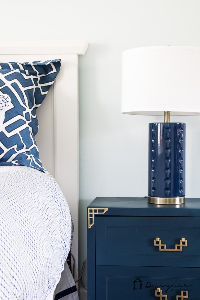 DIY furniture makeover! BEAUTIFUL Campaign bedside table makeover! This blogger scored an entire furniture set for a bargain and gave it new life with some paint and TLC.