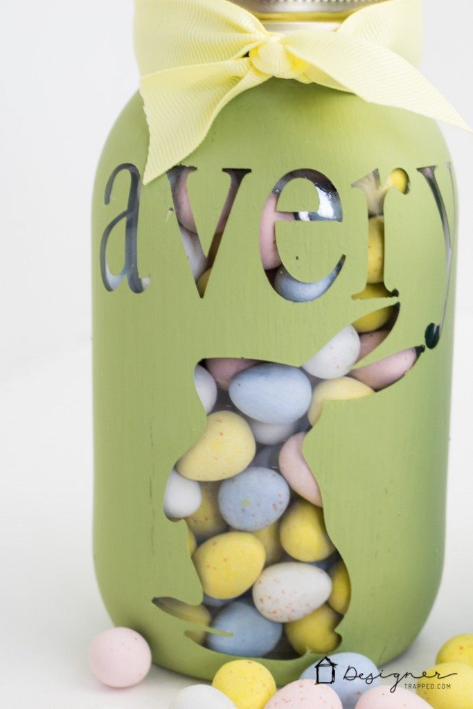 OMG--how cute is this personalized mason jar project? And it looks so easy! Perfect for Easter, Valentine's Day, Christmas or birthday gifts. I can't wait to try it.