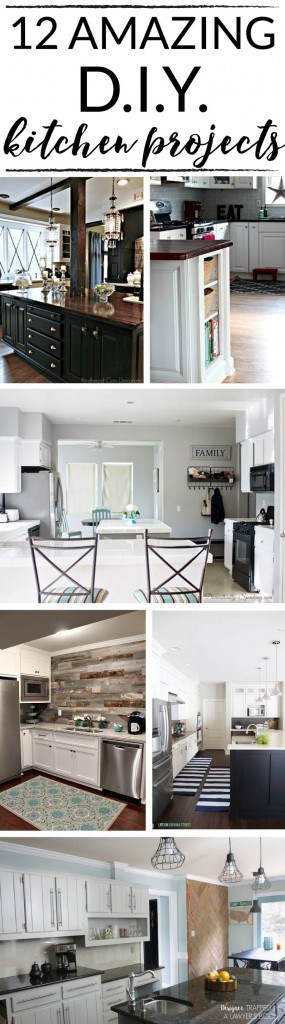 WOW! These 12 DIY kitchen projects are some of the best I have seen. Proof you can makeover a kitchen on a budget!