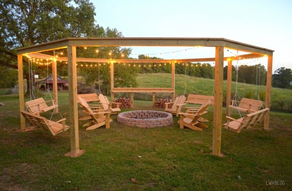 Best list of DIY outdoor projects I have seen on Pinterest. Love that Pergola with swings!