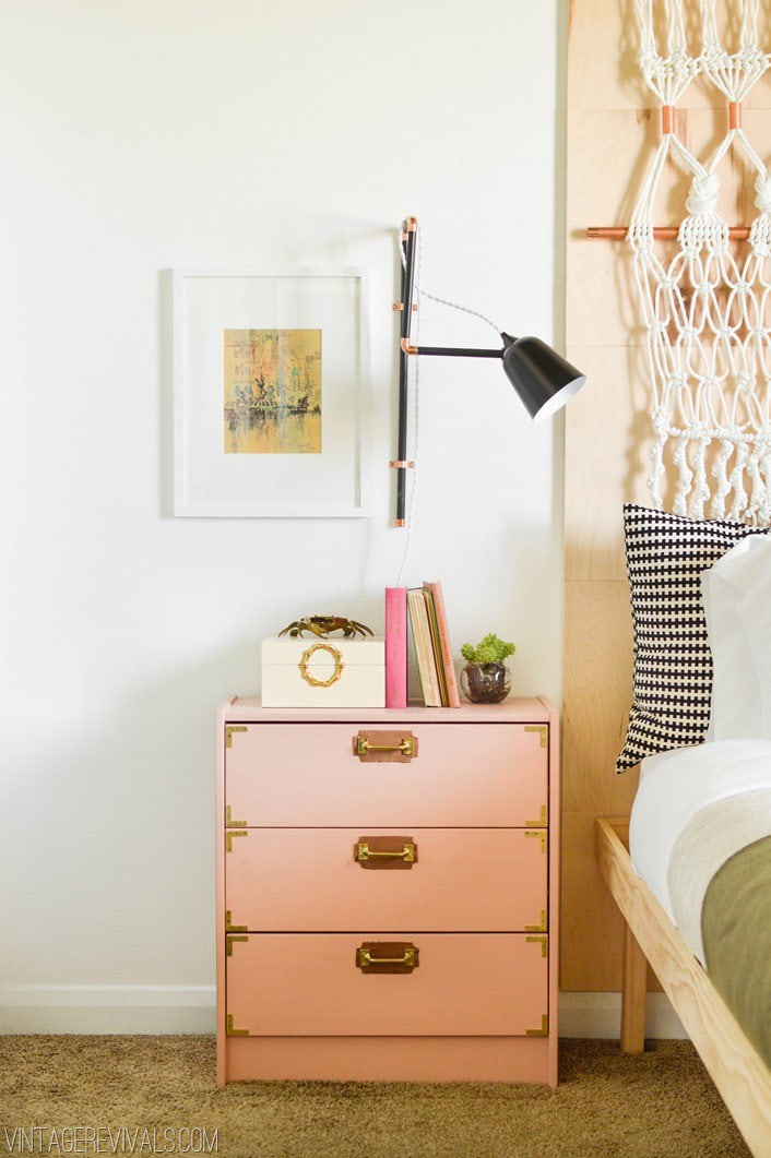 Ikea ideas and Ikea hacks are abundant, but this is one of the most amazing I have seen. I would never have guess that this campaign night stand started out as an Ikea Rast dresser!