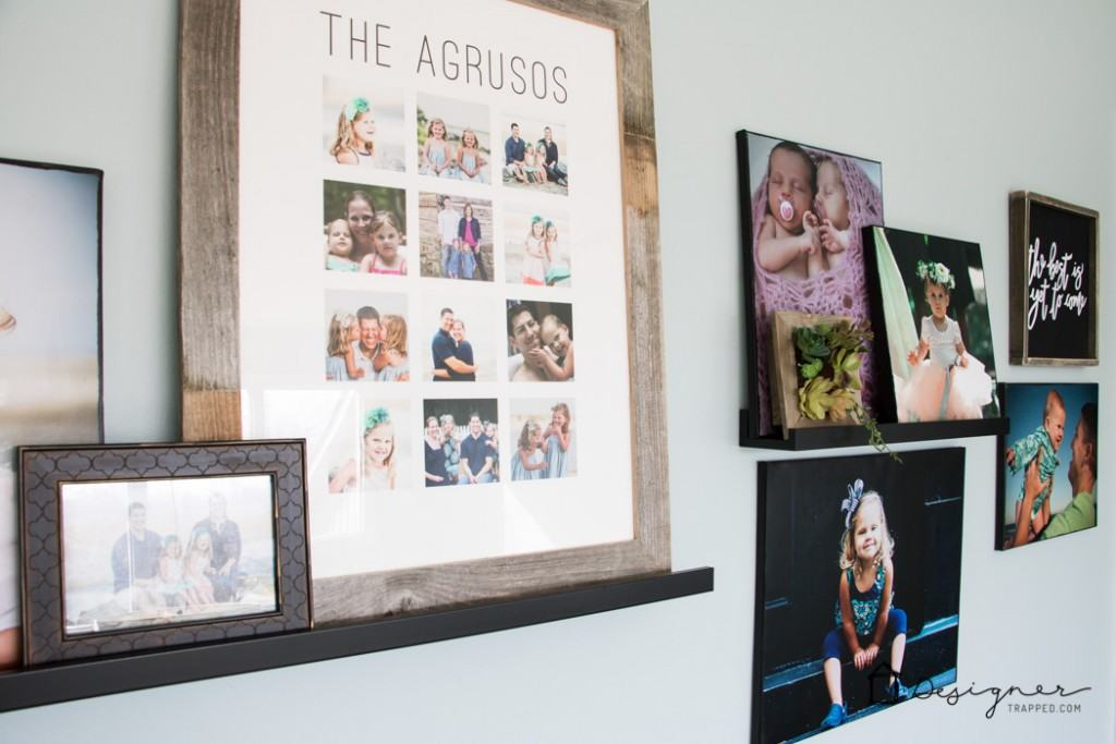 LOVE how this blogger added personality to her hallway with this gorgeous wall gallery full of family photos and special pieces!