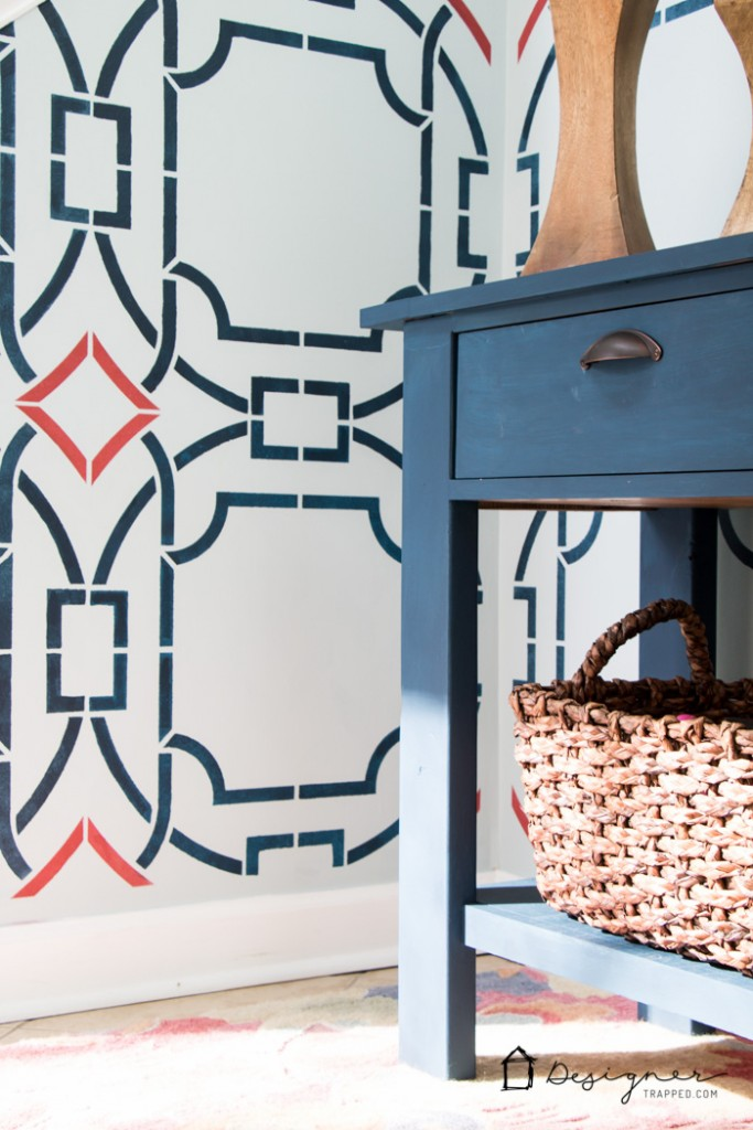 Love the look of wallpaper, but don't want to commit? Learn how to stencil for a BIG impact! Love the stencil this blogger used.