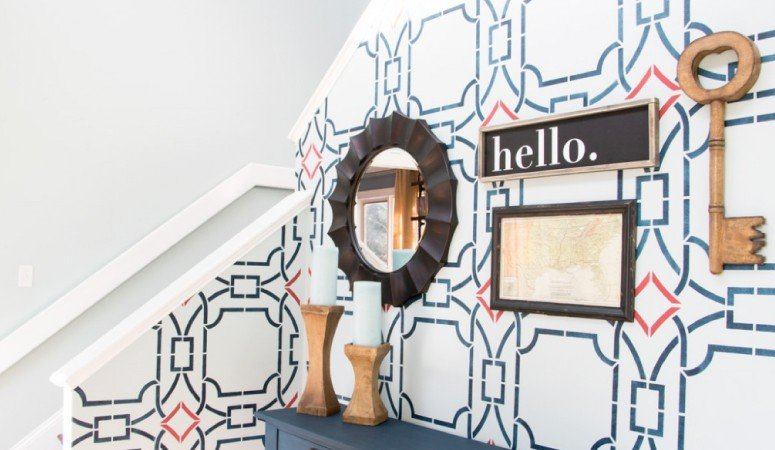 How to Stencil a Wall for HUGE Impact + Foyer Reveal