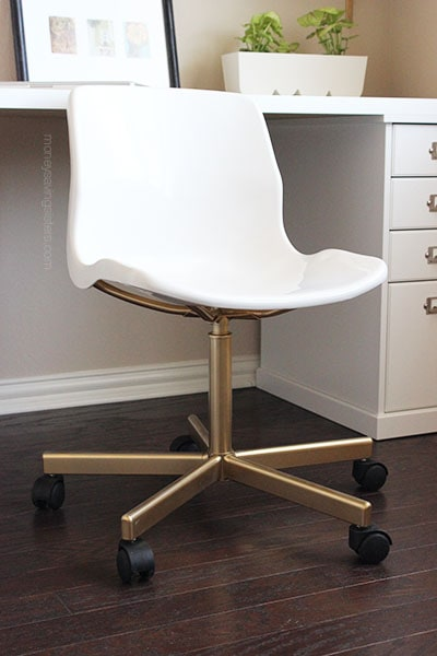 IKEA ideas abound, but this is the best I have seen for a desk chair. IKEA hacks make me happy!