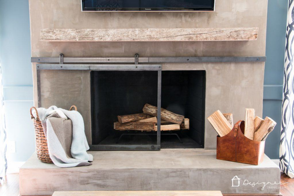 DIY Concrete Fireplace For Less than $100! | Designer Trapped in a ...