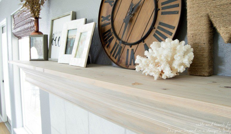 DIY Fireplace Mantel With a Driftwood Finish
