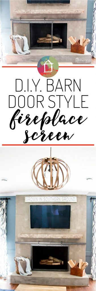 This is seriously amazing! A DIY sliding fireplace screen. OMG, love it. Learn how to make a barn door style fireplace screen with this blogger's full tutorial. You don't have to weld or anything!