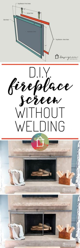 Learn how to make a barn door style fireplace screen without welding! This DIY sliding fireplace screen is easier than it looks to make!