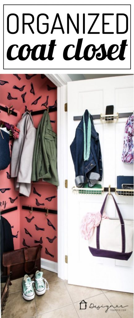 Love this pretty and organized coat closet! This small closet organization is so pretty and so much more functional than 1 hanging rod and a shelf. I can't wait to try that organization system!