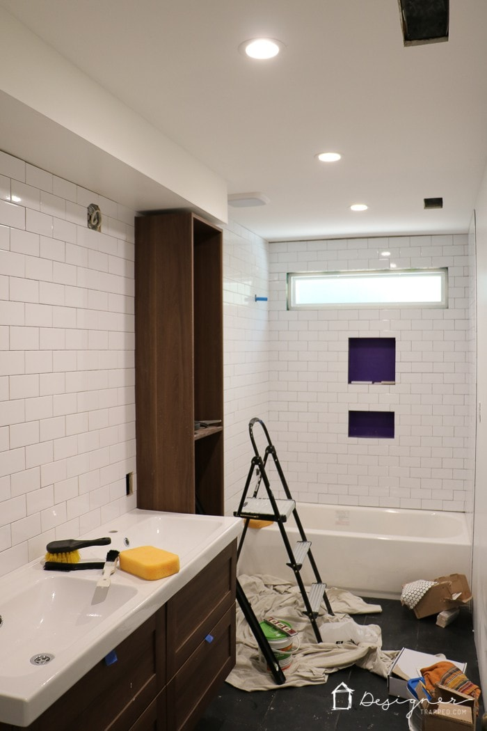 Diy bathroom tile completed and it is gorgeous for Youtube bathroom remodel