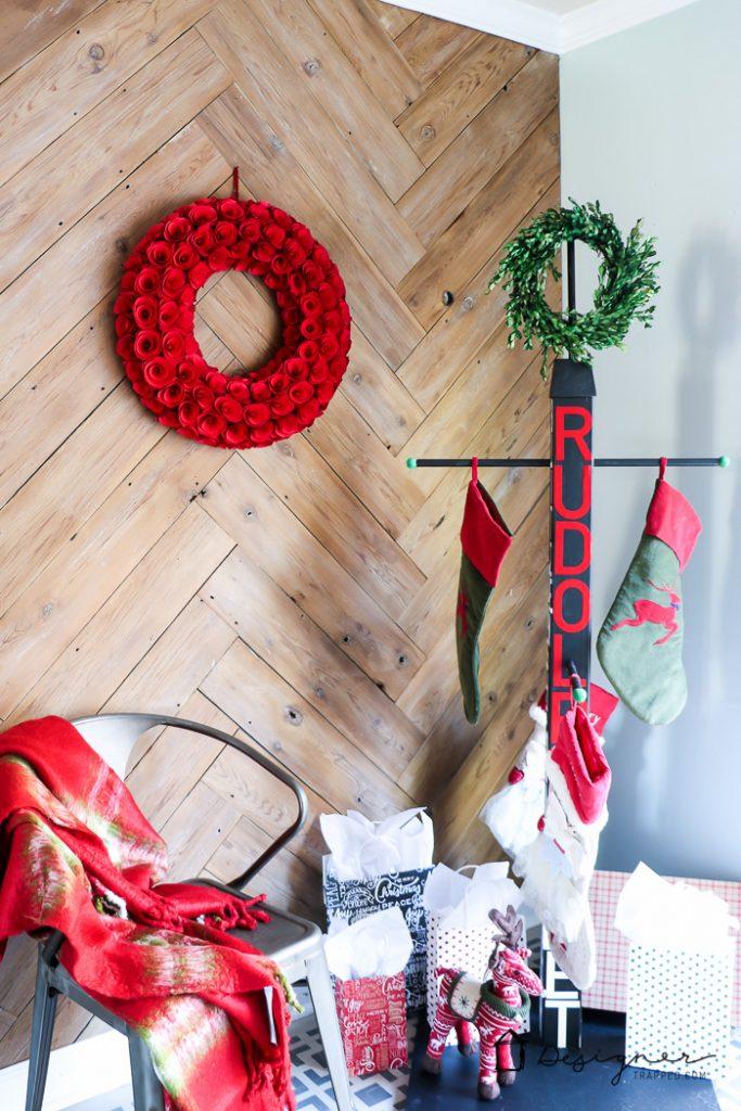 diy stocking holder stand no mantel no problem. Black Bedroom Furniture Sets. Home Design Ideas