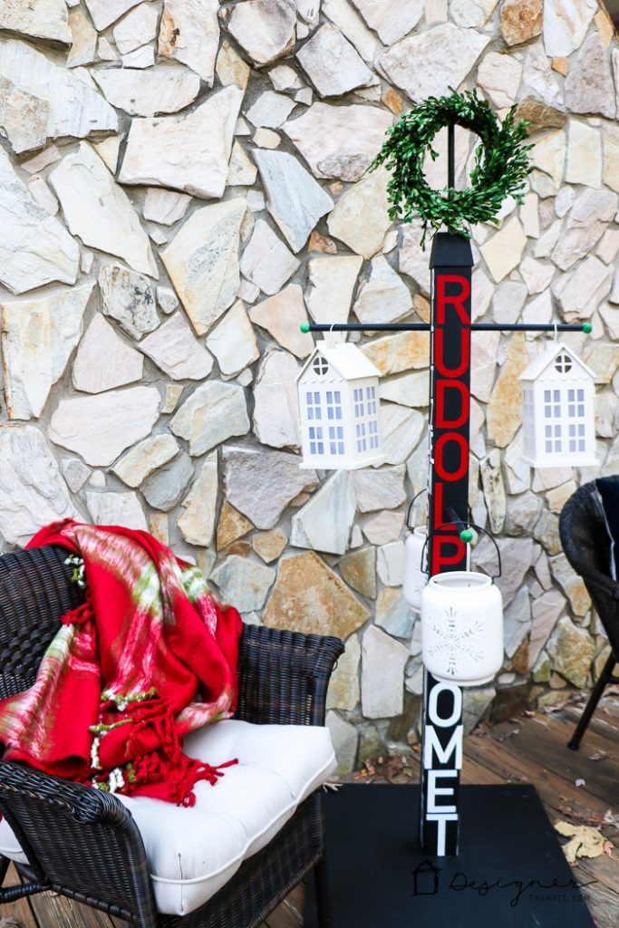 No mantel? No problem. You can hang Christmas stockings without a mantel. This DIY stocking holder stand is the perfect solution and this full tutorial makes it look so easy. #DIYworkshop #sponsored