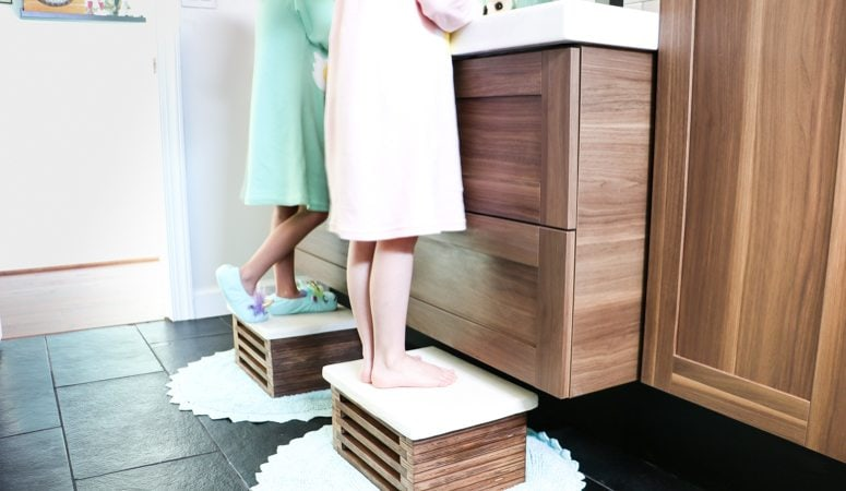 WOW! This DIY wooden step stool is amazing. It looks so modern and I love the faux white concrete top. Love that this DIY step stool is functional and pretty. And the video tutorial is so detailed!