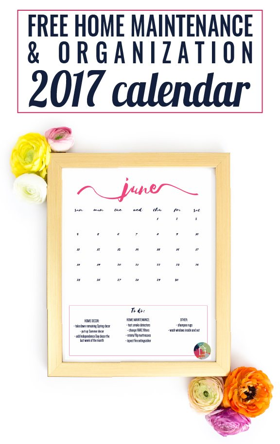 This is the prettiest and BEST 2017 printable calendar I have seen. It includes lists of home decor, home maintenance and organization/decluttering tips every month. Finally, I feel like I'll be able to stay on top of these tasks. Best of all, this 2017 printable calendar is free!