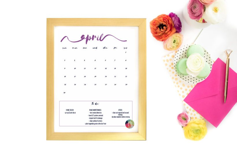 FREE 2017 Printable Calendar With Home Maintenance and Organization Tips