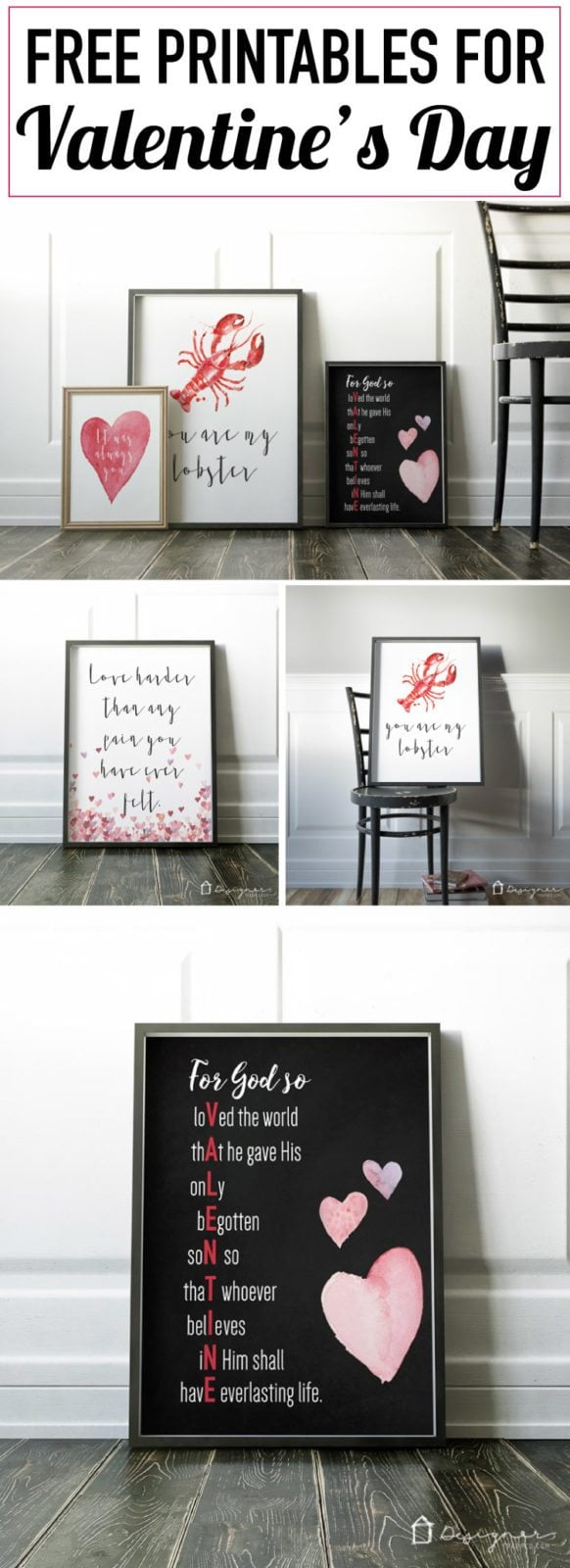 OMG, these really are the best Valentine's Day printables I have ever seen! They are perfect. And I love that they are free Valentine's printables. Can't wait to print them off and frame a few this year!