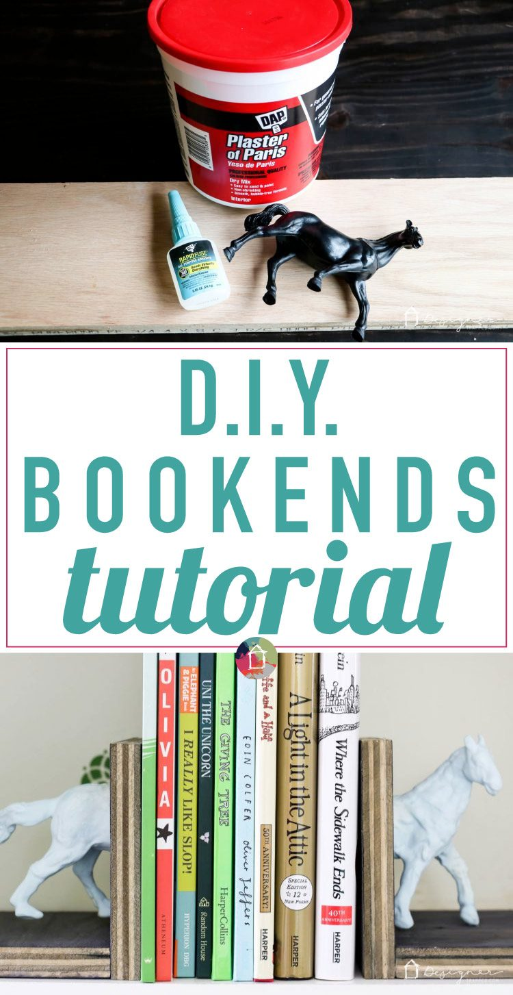 Make these DIY bookends for a high-style look on a tiny budget yourself! It's a fun and easy project. No power tools required! Check out the full blog post to see how I made these DIY bookends for $1 out of pocket!