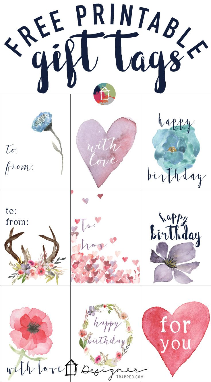 Free printable gift tags for birthdays designertrapped omg these printable gift tags are gorgeous and they are free grab your negle