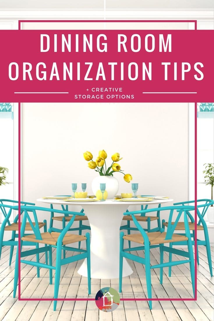 LOVE these dining room storage and organization ideas. I'm not the only person whose dining room has to serve multiple purposes--I need creative storage ideas to make that happen. These organization and decluttering ideas are perfect.