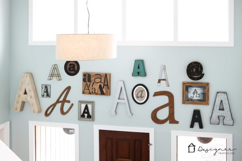 OMG! I am obsessed with this gorgeous wall full of typography art! How fun to pick your last name initial and create a monogram gallery wall. And this blogger shares the best sources for where to find large wall letters! Saving!