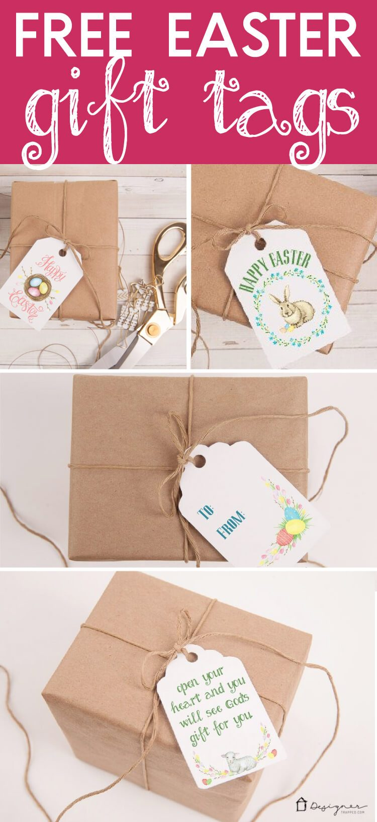 These free Easter printables will add the perfect touch to any Easter gifts you are giving this year! Just print these Easter gift tags off and pop them on your gifts :) Click the pin to get them delivered to your inbox!