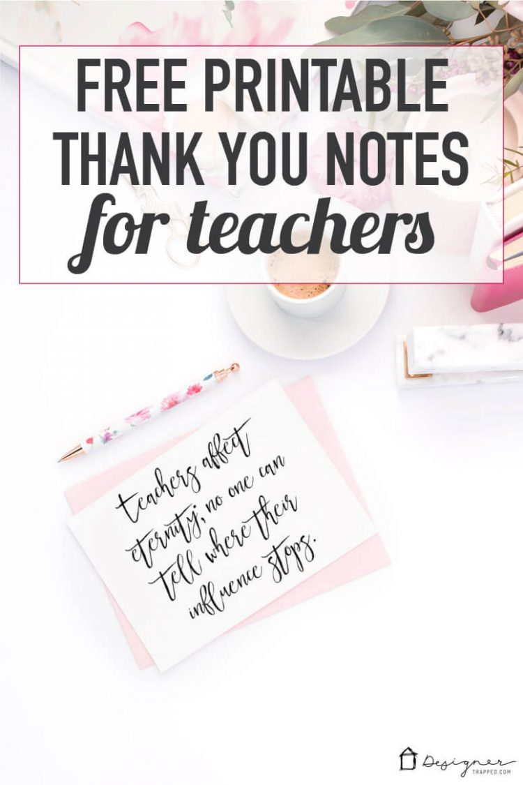 Get these free printable thank you notes to give to your kids' teachers for teacher appreciation, teacher's birthday or teacher holiday gifts! They are simple and gorgeous!
