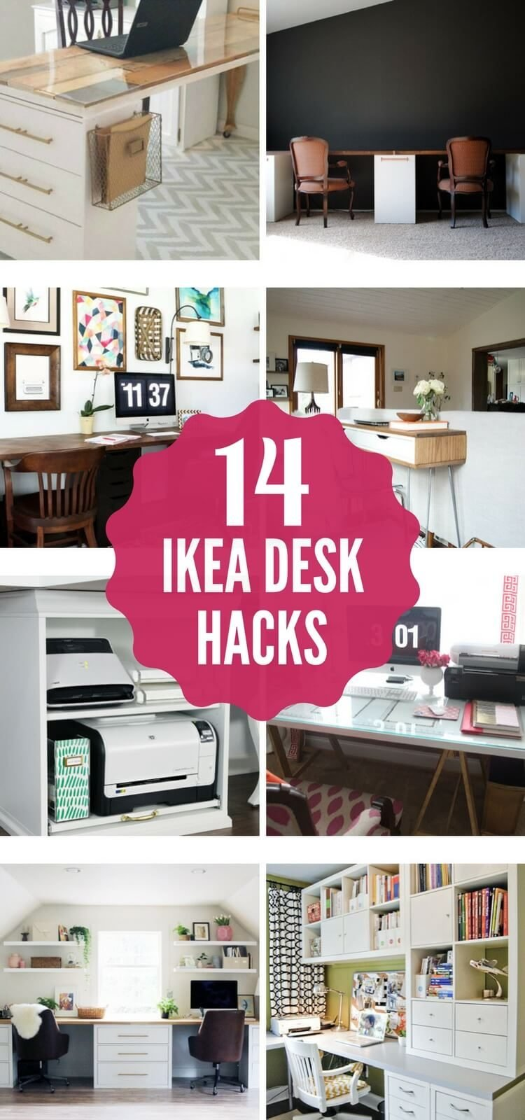 Desks can be so expensive, but these amazing DIY Ikea desk hacks will give you a stylish workspace on a small budget! I am obsessed with number 2 and 6!