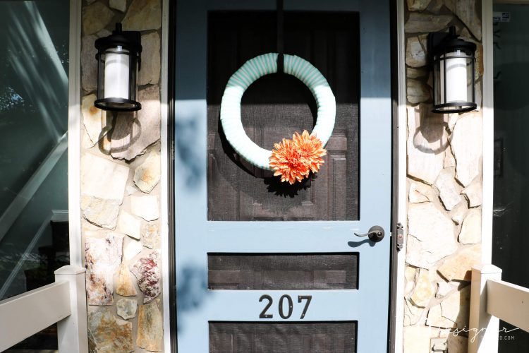 Never underestimate the impact of a simple front door update to increase your curb appeal! The bold color on this front door and the new hardware make it a total showstopper! #ad #CurbAppeal