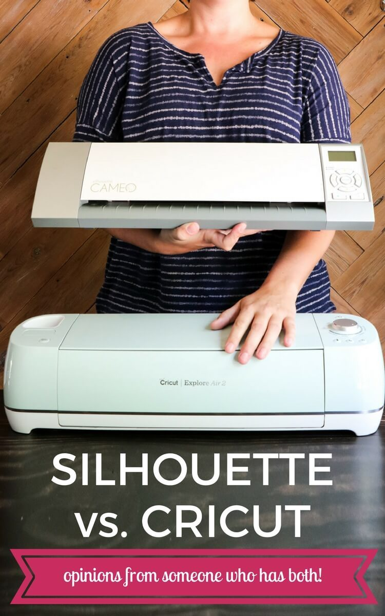 Silhouette vs. Cricut? This post walks you through all the pros and cons so you can decide which cutting machine is right for you! Learn all about the Silhouette CAMEO and Cricut Explore!